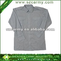 cotton light gray long-sleeve military uniform shirt