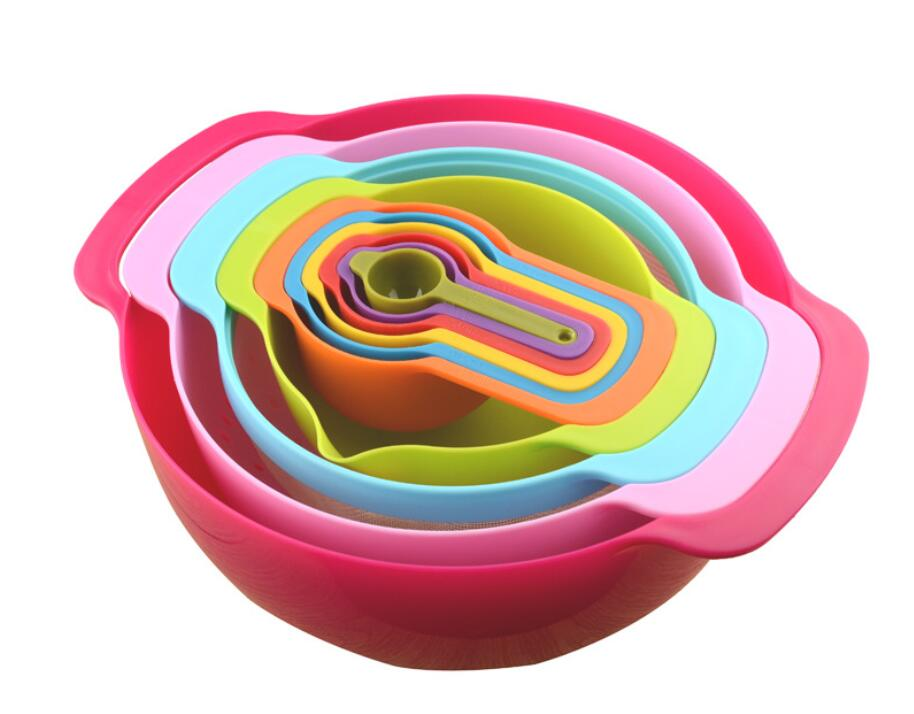 2016 New design colorful plastic rainbow mixing bowl/salad plastic bowl