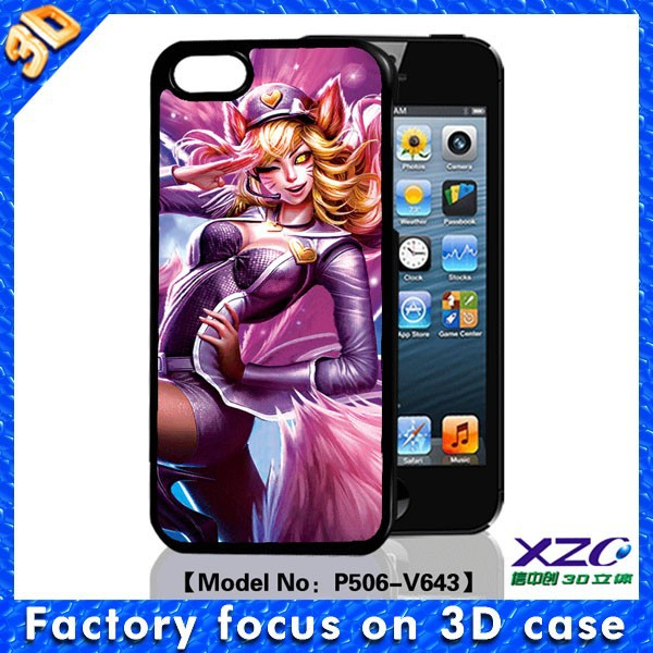 3D image designer cell phone cases wholesale for iphone 5 with 3D cartoon girl