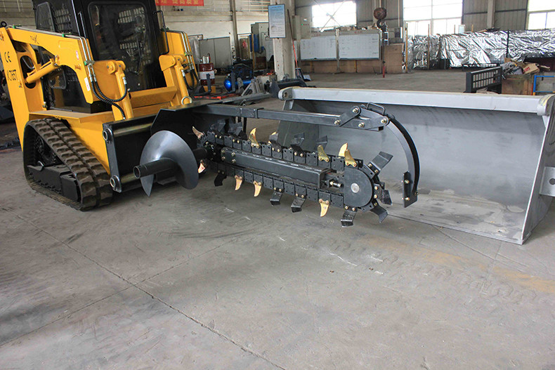agricultural machinery chain saw trencher implement for skid loader