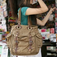 2807 Vintage Khaki Washed Canvas Tote Bags for Women Handbag with Long Leather Handles