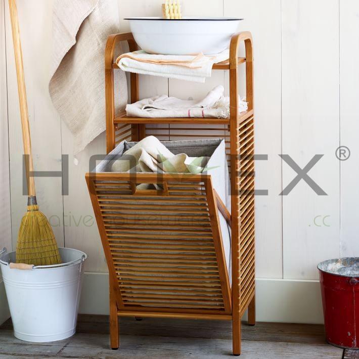 Luxe Badkamerspecialist ~ Bamboe wasmand wasserette opslag plank badkamer wasmand homex bsci