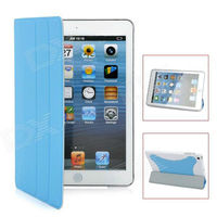 Protective PU Leather Smart Cover Case for iPad Mini - Blue + White