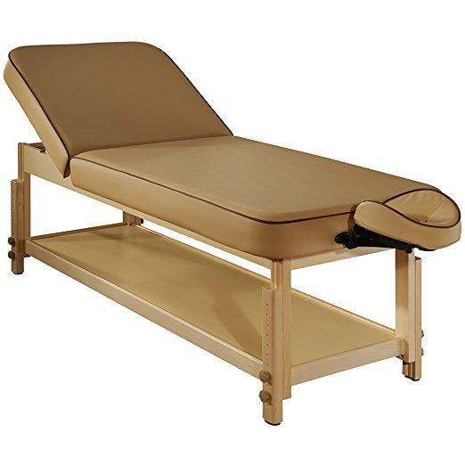 Liftback Tilting Backrest Salon Stationary Massage Beauty Table(Beige)