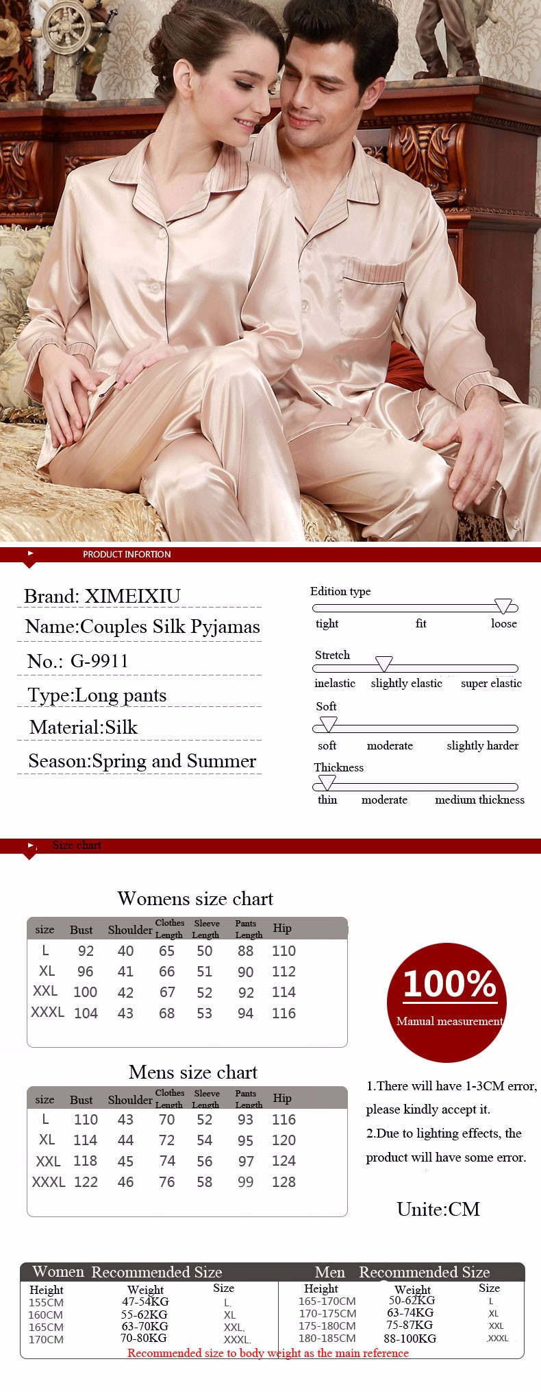 Couple Sleepwear Silk Pajamas Sets Satin Loungewear Leisure Set Men Women Suit Champagne
