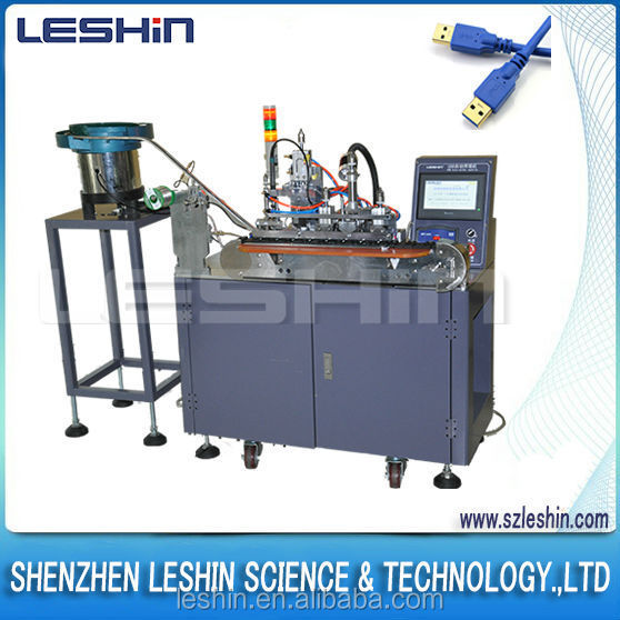 LESHIN BRAND USB cable soldering machine LX-390F for USB Micro connector, manufacturing iphone android phone usb cable
