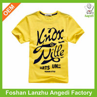 Promotion clothing Summer Knitted Soft Fabric Kids casual t shirt with printing