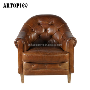 Wholesale reaationary living room upholstered leather arm chair / antique luxury cafe hotel bedroom furniture sofa chair