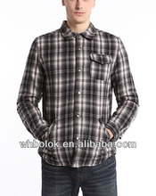 Mens flannel shirts check cotton shirt jacket pocket lined winter quilted plaid shirt