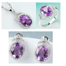 fashion wholesale design 925 sterling silver jewelry set purple amethyst jewelry set gemstone silver jewelry