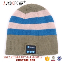 Fashion print stripe winter hat headphone hat beanie