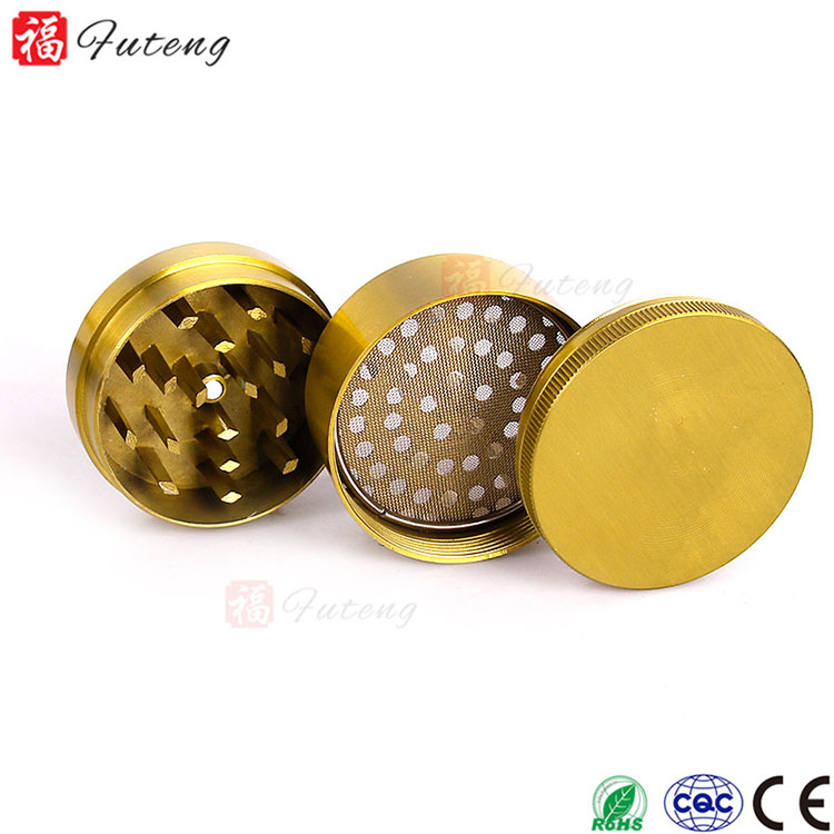 Futeng 50mm 3layers Sharp CNC Teeth Zinc Wholesale Tobacco Herb Grinder