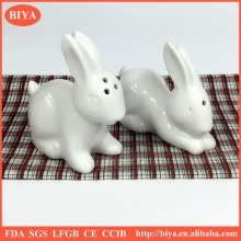white ceramic rabbit salt and pepper shaker set