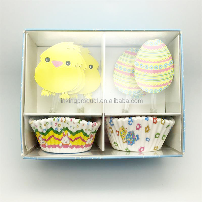 Happy Easter Theme Colorful Eggs Combo Pack(50PCS Paper Baking Cups & 48PCS Cake Toppers),paper cake cup set
