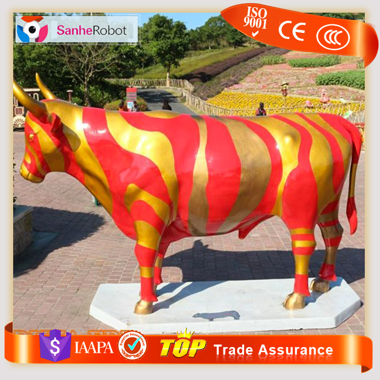 Welcoming Landscape park elegant decorating Cartoon Character Figurines fiberglass bull for sale