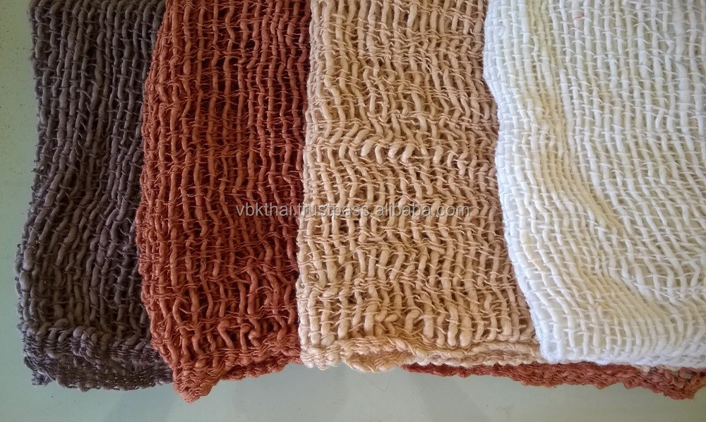 4 Genuine Naturally Dyed Colour Handmade Handcraft Weaving Scarfs & Shawls from Thailand