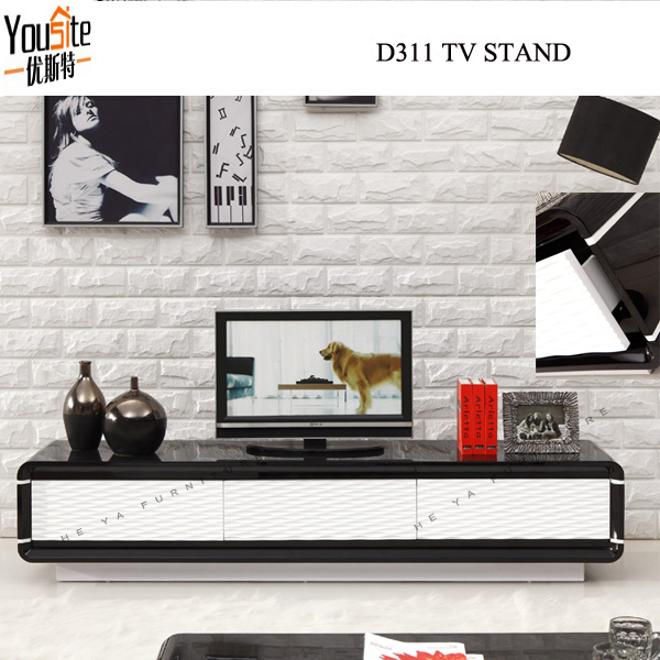 Modern Lcd design corner TV table black wooden TV stand