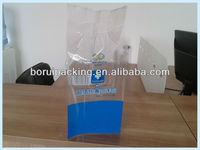 Customized transparent side gusset bag with handle for grocery ,PET PE material