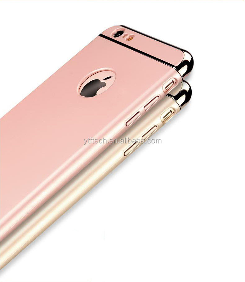 New free sample good quality 3 in 1 Electroplating PC 360 protect case for <strong>Iphone</strong> 6 4.7' 6 colors