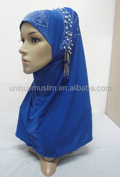 H284 new style one piece hijab with handmade chains and beadings