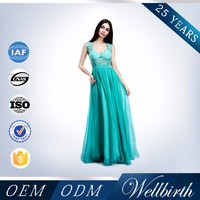 New Arrival Elegant And Beautiful Design Of Wellbirth Deep V-neck Turquoise Long Chiffon Evening Dress 2015