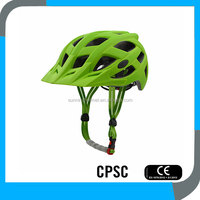 best in mold CE CPSC mountain bike helmets with sun visor OEM China,Green matt MTB safety bicycle helmet for commuter