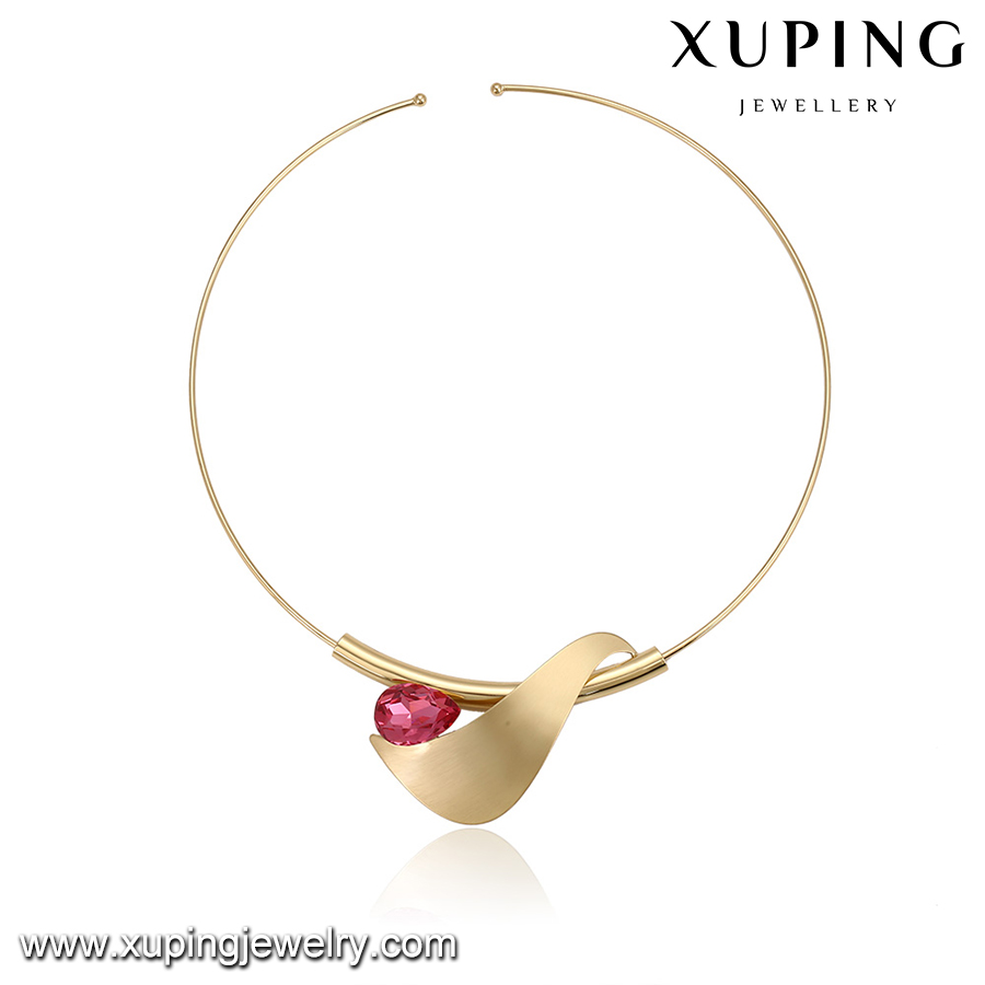 00340 Hot Selling setting Rings shape necklace, 20 grams gold necklace designs, new ruby stone simple necklace designs