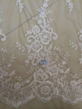 2015 hot selling beaded sequined lace fabric/ wedding veil lace fabric