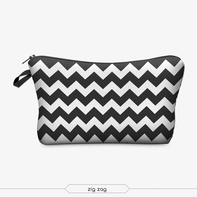 polyester printed makeup bag black white zig zag cosmetic bag