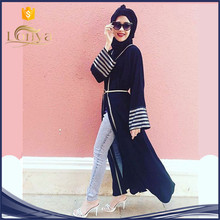 Lady Islamic malaysia front open abaya for muslim women fancy design wholesale