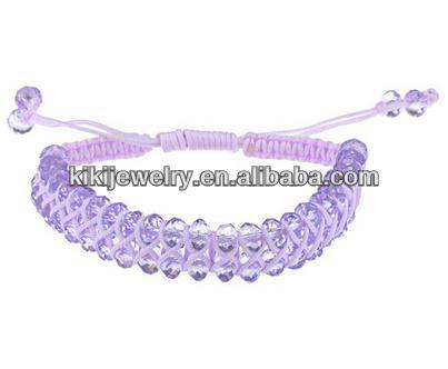 cheap hand weaving lavender pink crystal beads leather bracelet