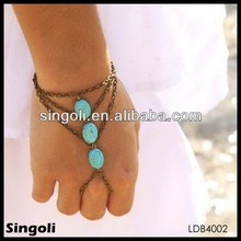 new years bohemian slave piece ring hipster bronze chain three turquoise beads triangle hand bracelet