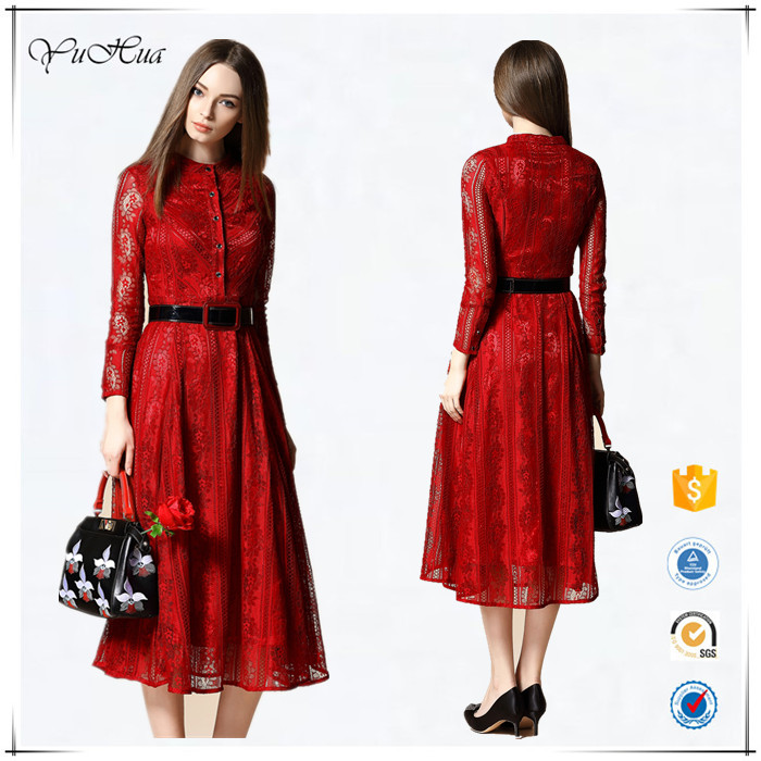 formal dress patterns long sleeve ladies red day dress