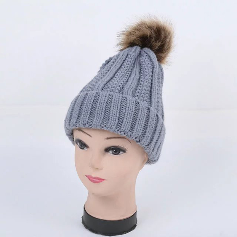 New arrival women knitted hats with ball top China factory custom beanie cap for winter