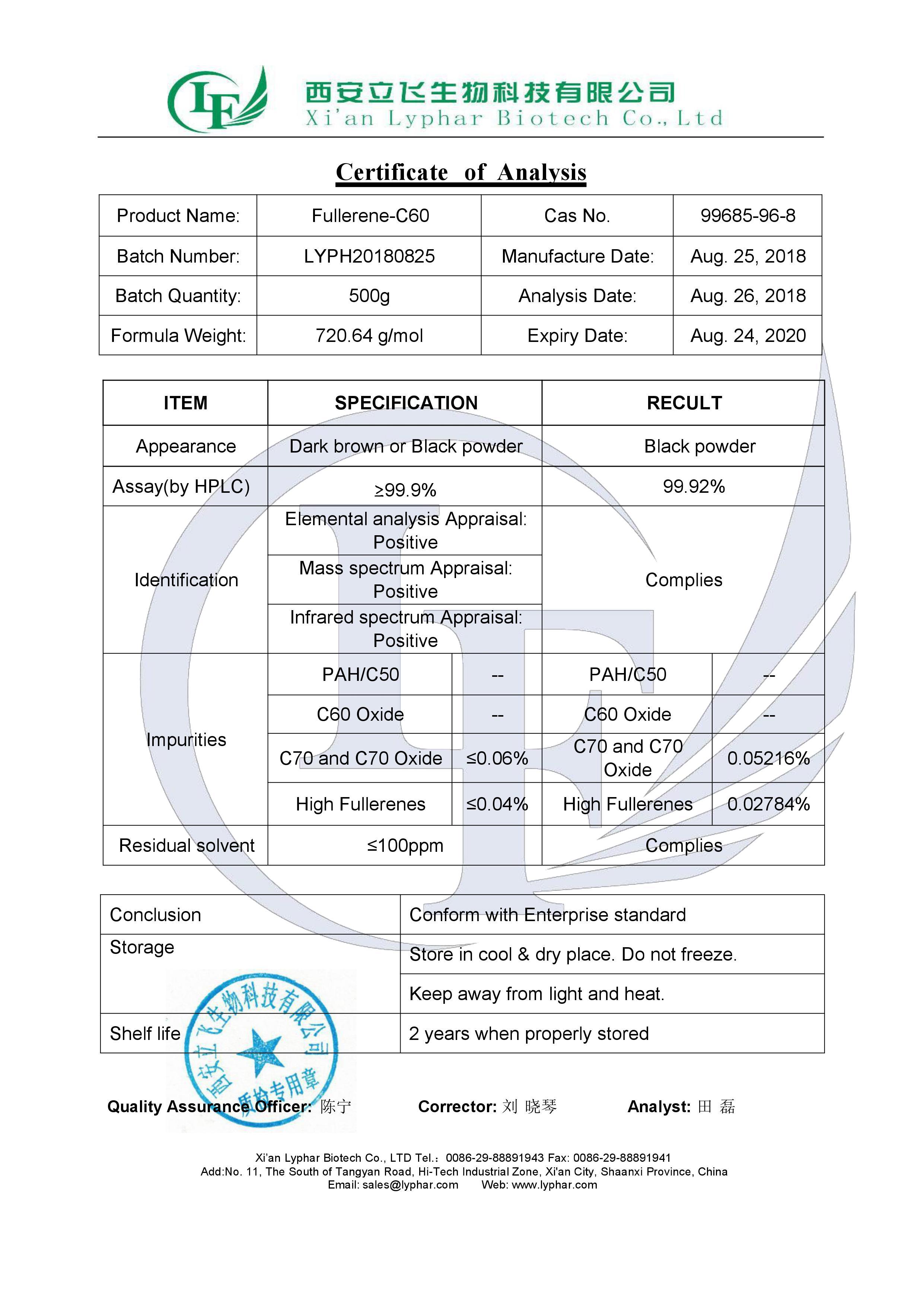 Cosmétique et Pharmaceutique Utiliser Fullerène C60 Poudre/Fullerène Poudre