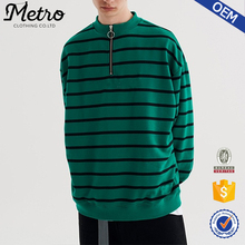 Classic Style Green Stripe 1/4 Zip Pullover Jumper for Men