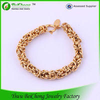 new design fashion stainless steel gold nugget bracelet