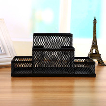 High Quality Black Cube Metal Stand Mesh Style Pen Pencil Ruler Holder Desk Organizer Storage
