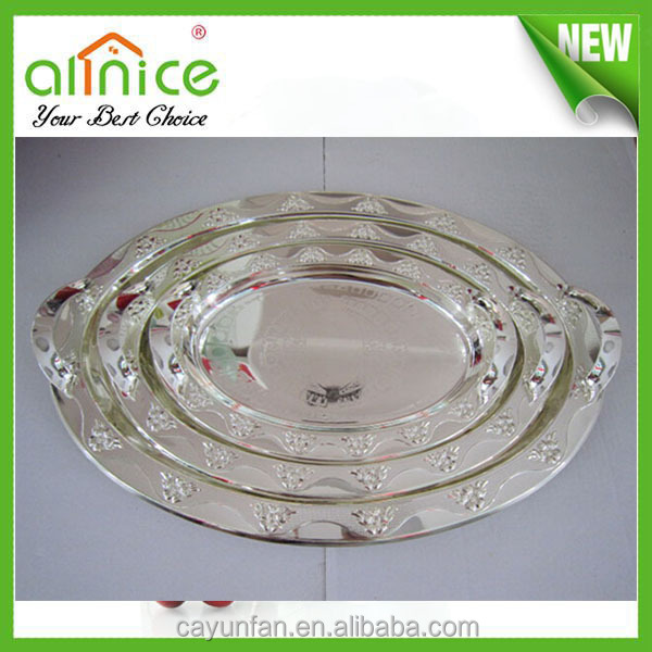 Decorative White Antique Metal Serving Tray With Silver Galvanized