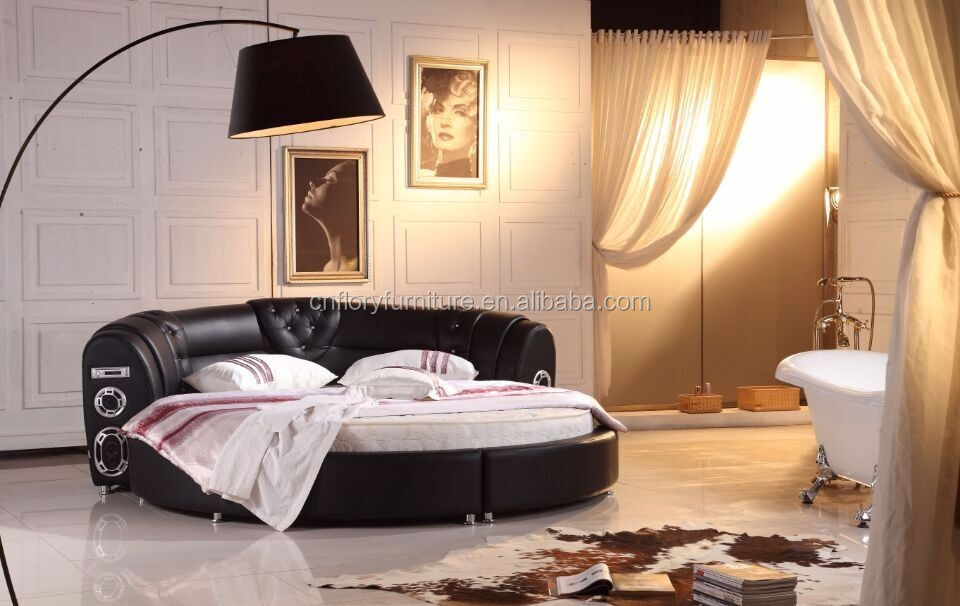 Latest bedroom furniture round bed design with radio BL9093