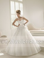 Eye-catching Sweetheart Beading Tulle Ball Gown Wedding Dress Real Photo 66022
