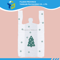 Merry Christmas Clear Plastic T-Shirt Bags With Handles Retail Grocery Merchandise Shopping Bags