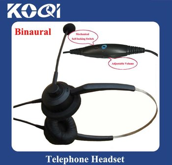 Professional Binaura Telephone headsets with RJ11 Plug with Volume Control and mute function