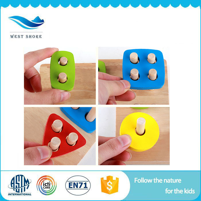 New style Magnetic Montessori teaching aids toys wooden geometric shape blocks