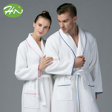 Hotel High Quality Luxury Heavy Men Cotton Waffle Velvet Bathrobe Guangzhou