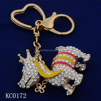 New Design Fashion With a diamond crown horse 3D printing metal keychains