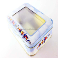 recyclable metal material rectangular display tin packing box with window