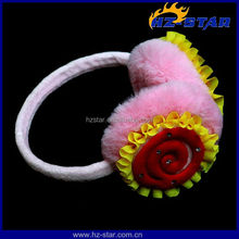 HZE-13093 hot selling beautiful kids flower children winter warm ear muffs