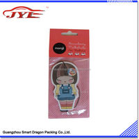 Customized Logo & shape hanging car paper perfume with backing card package