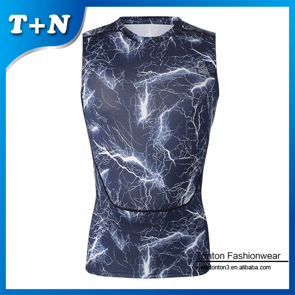 Custom made sleeveless rash guard, rash vest, compression gym vest
